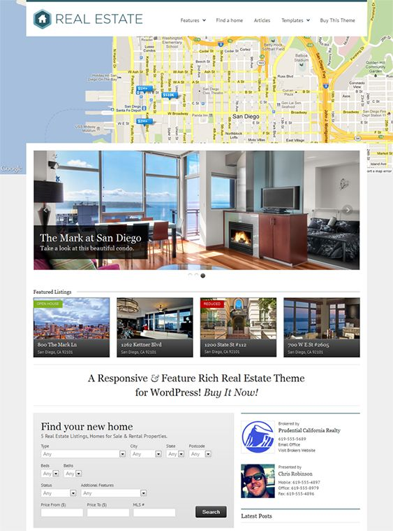 This real estate WordPress theme comes with a responsive layout, unlimited colors and background patterns, social media integration, SEO-friendly code, broker, agent, listings, and adspace widgets, a homepage slider with touch support, and more.