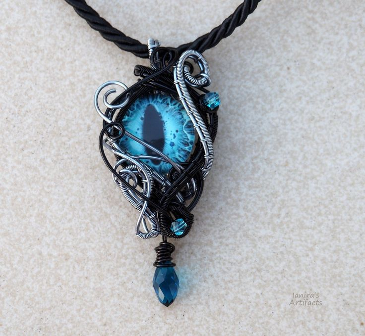Dragon eye pendant/Blue eye necklace/Dragon eye necklace/Wire wrapped pendant/gothic pendant/Vampire pendant/Goth/Gift for her/Gift for him by Ianira on Etsy