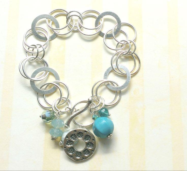 Custom Bracelet for Sara's Aunt Sterling silver, Swarovski crystals, + shell www.aebumble.com