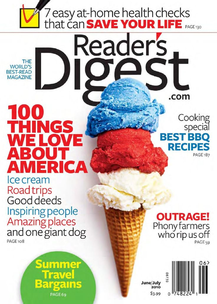 Looking back to Readers Digest June/July 2010 magazine cover.