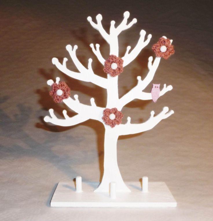 L 39 arbre a bijoux en bois medium et laine presentoir bo tes par laine creation bois - Arbre a bijoux en bois ...