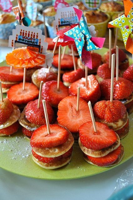 strawberry pancake skewers. Kid party food?