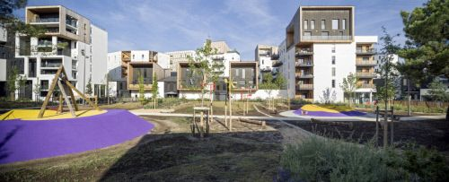 Canopée Résidence in GINKO ECO-DISTRICT in Bordeaux (France) by Olivier Brochet  Contractor Moriceau, ©️️️Jean-François Tremege #Architecture #Façade #Cladding #AnthraZinc #CollectiveHousing #Cassette #Zinc #VMZINC #France