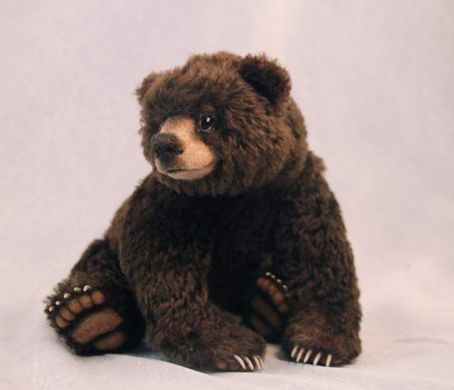 Luxembears Artist mohair bear. Felted details. Claws. Fully posable NEW DESIGN