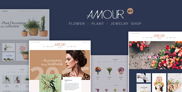 Amour - Shop WordPress theme - Flower - Jewelry - Handmade - Gift Be it online shop for Flowers, Jewelry, Clothing or Handmade products, Amour offers the flexibility to fully customize your website. There are 7 homepages (from classic to creative style), lots of feature pages (about, blog, shop, product details, check-out, cart, etc.). Each page also has different styles to indulge you.