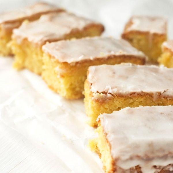 Lemon Drizzle Slices {Gluten-free, Dairy-free} via @wallfloweraimee