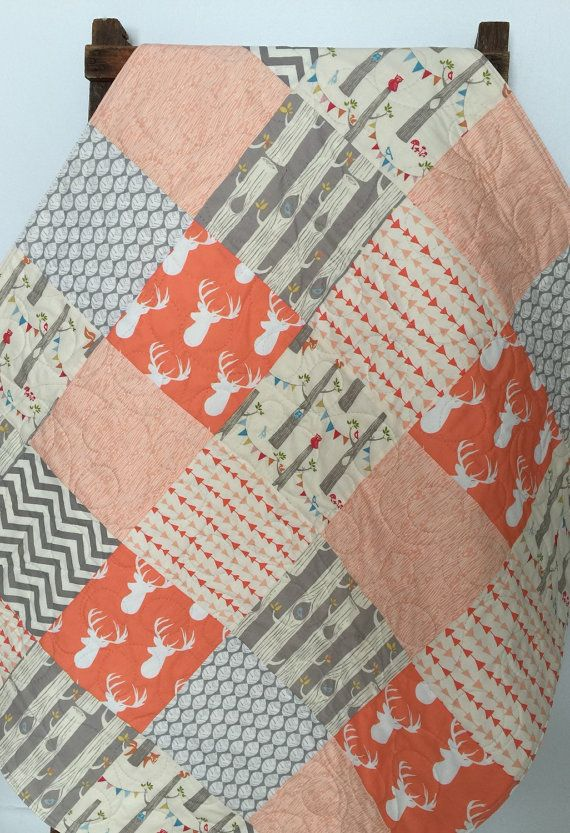 Adorable baby girl quilt - fox - deer - elk - stag - modern - chevron - woodland party - blanket - gray - coral - rustic - baby crib or nursery quilt.