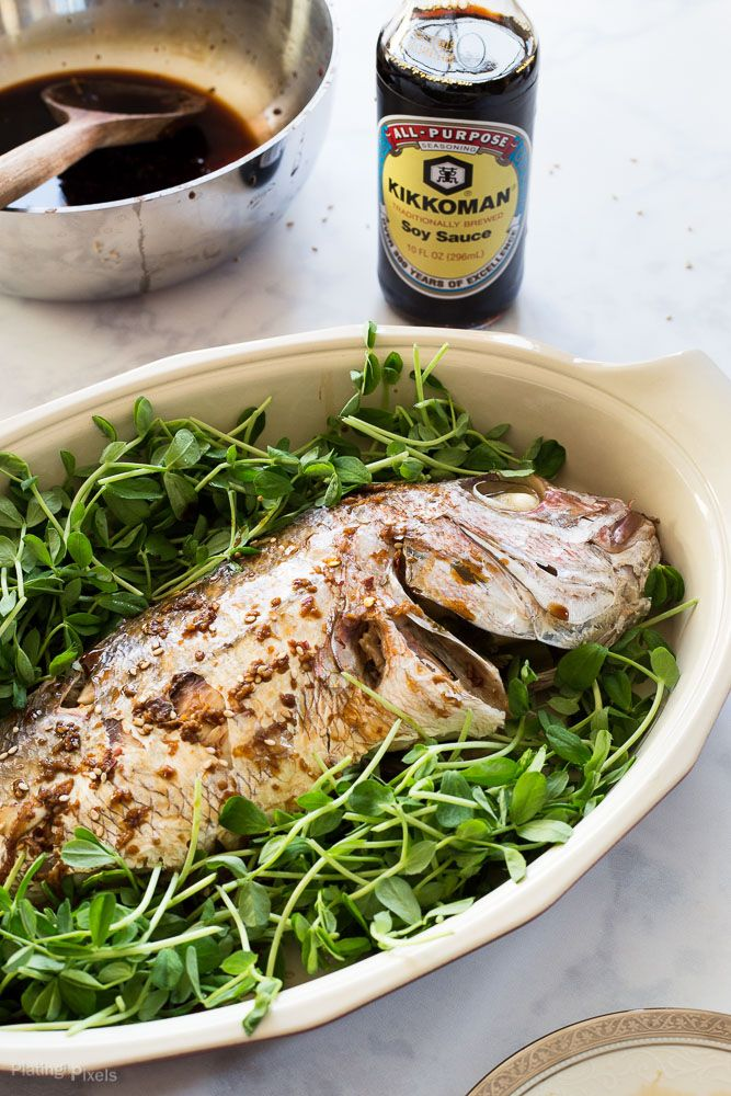 Soy sauce glazed whole steamed fish recipe glaze for Soy sauce fish