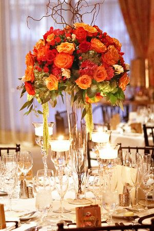 Orange red Autumn centerpiece: Centerpieces Photo, Pink Centerpieces, Festivals Fall, Flower Arrangements, Autumn Centerpieces, Centers Piece, Fall Weddings Centerpieces, Tall Centerpieces, Fall Wedding Centerpieces