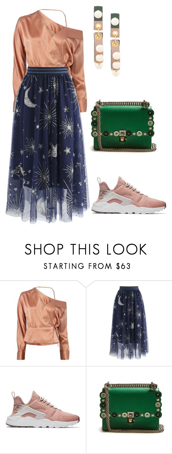 """18"" by explorer-14152771647 ❤ liked on Polyvore featuring Michelle Mason, Chicwish, NIKE, Fendi and Marni"