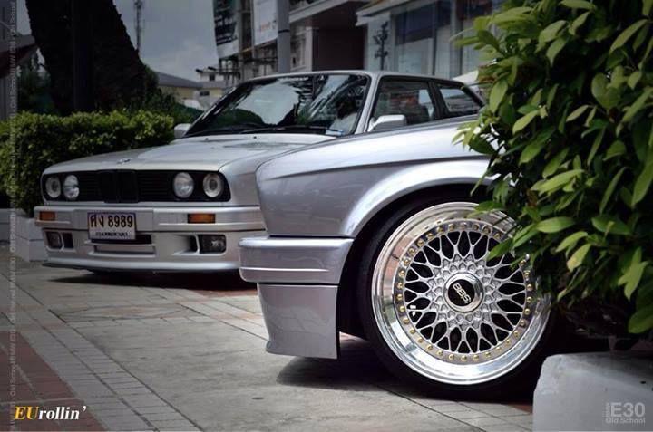 BMW E30 3 series duo silver BBS wheels