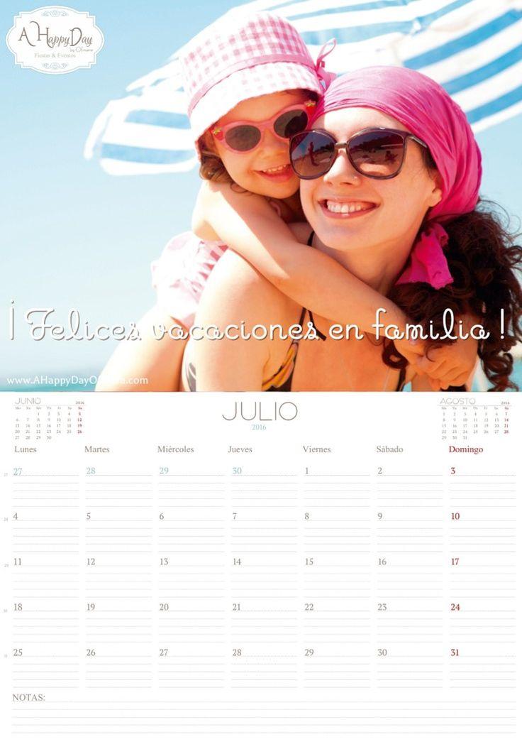 """¡Ya está aquí nuestro calendario del mes de """"Julio 2016"""" ! deseándoles una felices vacaciones de verano en familia. En A Happy Day by Ofmara la planificación es fundamental en nuestro día a día y sabemos que para ti también lo es! así que sigue las instrucciones que te detallamos a continuación para descargártelo """"gratis"""":…"""