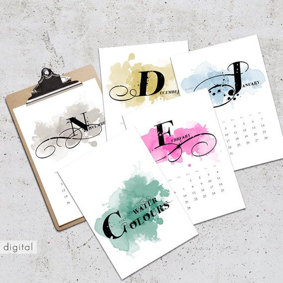 Wall Calendar 2017 Printable Typography Watercolor International Paper Sizes A3 & A4 Colorful Grunge Swirls Drips Splashes Calendar Wall Art