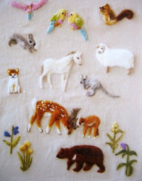 wool felt embroidery, japanese needlefelting pattern, animal set