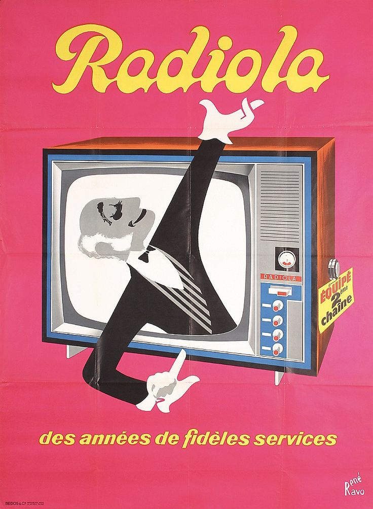 Original 1950s/60s French Radio TV Poster HERVE MORVAN  Estimated Price: $240 - $400  Description: Morvan , Hervé 1917 - 1980. Radiola - des annees des fideles services. Offset ca. 1960 . Size: 61.4 x 45.2 in. (156 x 115 cm) . Printer: Bedos & Cie., Paris .