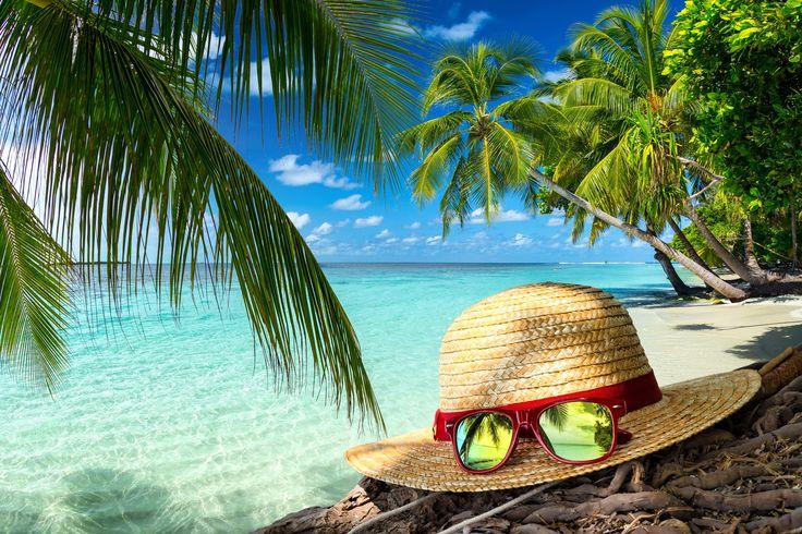 Plaża, Kapelusz, Okulary, Palmy, Morze, Lato