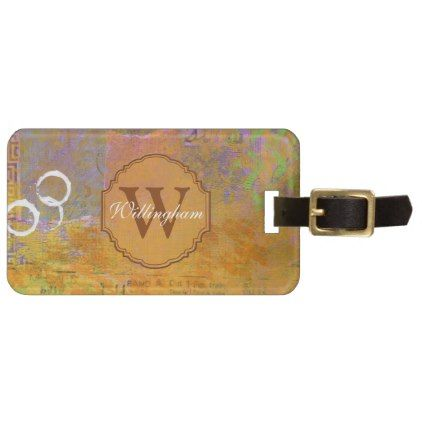 Autumn Monogram Luggage Tag - monogram gifts unique design style monogrammed diy cyo customize