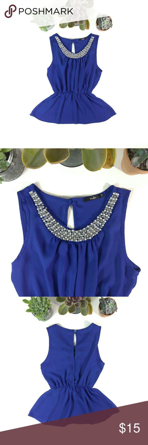 """EUC Papaya Cobalt Rhinestone & Pearl Peplum Top EUC. Worn twice.   Size S. 24"""" shoulder to hem, 14"""" pit to pit, 15"""" MAX at the stretchy waistline.   Cobalt blue Papaya peplum top. 100% polyester with that """"chiffon"""" feel. Very slightly sheer, so pair with a blue or nude bra/bralette or cami. Rhinestone, Pearl and beaded embellishment grace the scooped neckline, and the peepshow crossback has a single button and loop closure at the nape of the neck! Lovely little top that pairs well with just…"""