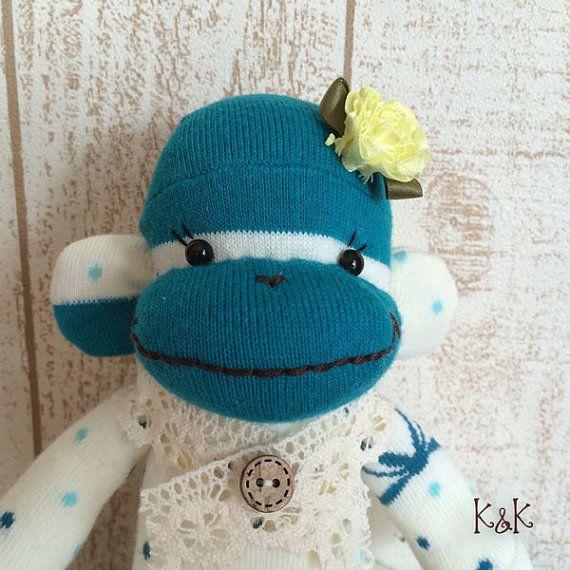 Sock Monkey Doll Girl 95  Sock Monkey Plush by KnKCraftsAndDesigns