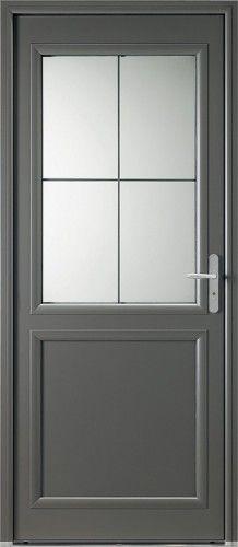 Porte aluminium, Porte entree, Bel'm, Classique, Poignee plaque gris deco bel'm, Mi-vitree, Double vitrage transparent, 4 ou 6 carreaux, Langeais