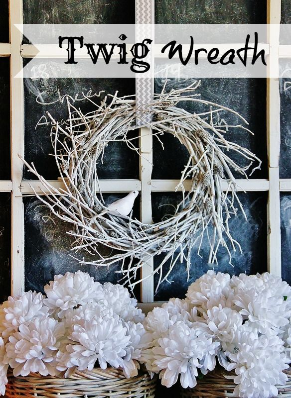 Total green project! This wreath is made from spray painted twigs from the yard! So easy and perfect for winter! thistlewoodfarms.com