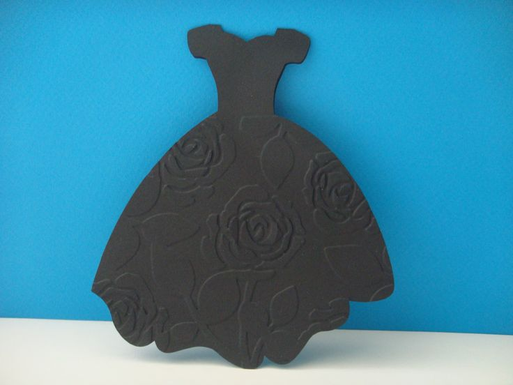 Carte robe de soirée noire embosser avec des roses + enveloppe