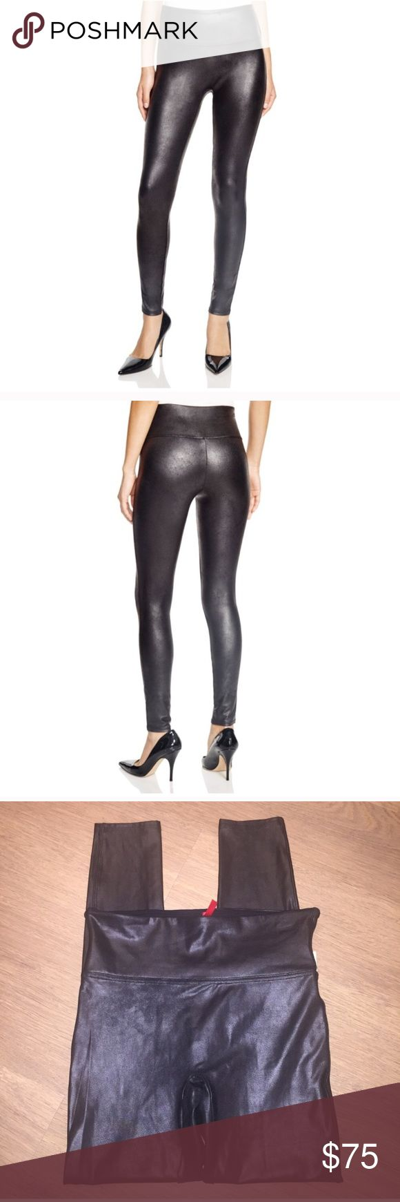 New Spanx Faux Leather Leggings Yoga Pants medium A slick finish adds extra edge to stretchy faux-leather leggings flattered by a subtle control top.  87% nylon, 13% spandex Machine wash cold, dry flat By SPANX; imported Size medium. New with partial tags attached. No spanx paper tags SPANX Pants Leggings