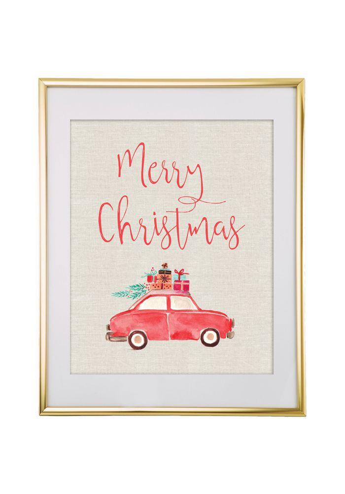 Free Printable Merry Christmas Car Art from @chicfetti - easy wall art diy