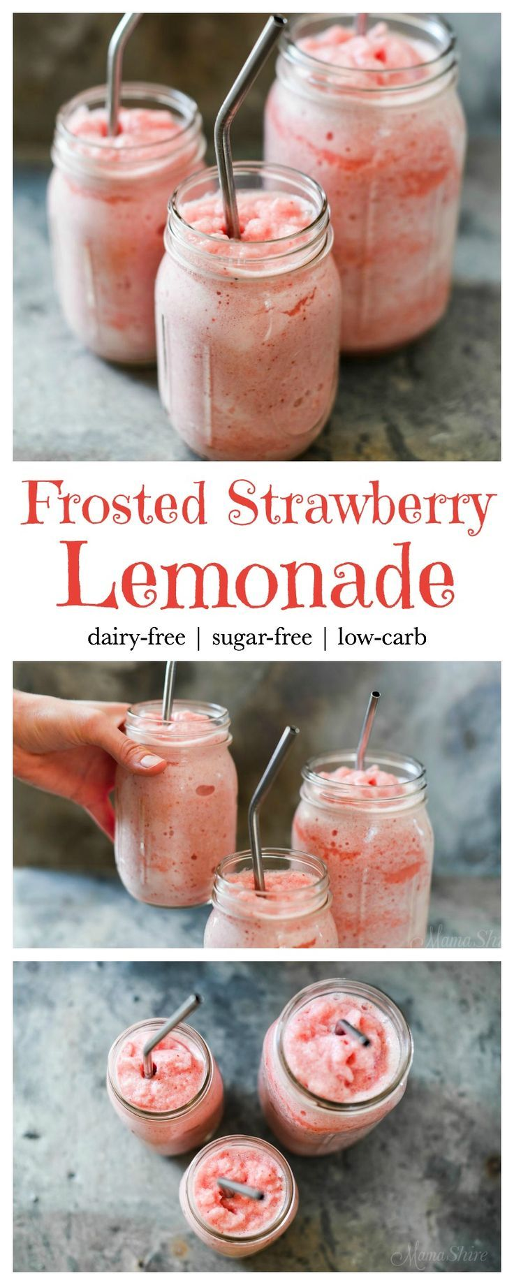 Frosted Strawberry Lemonade - Dairy-free, sugar-free, low-carb, THM, Trim Healthy Mama - FP