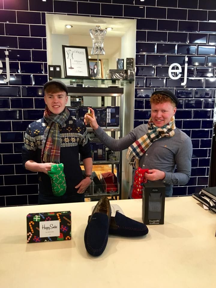 Christmas Gifts Galore!! Serving all sorts of ideal Christmas Gifts-from luxurious Ted Baker slippers to comfy Happy Socks, colourful Wool & Cashmere scarves to Scotch and Soda aftershave, we have it all @ EJ Menswear this Christmas!! Pictured is young Cl