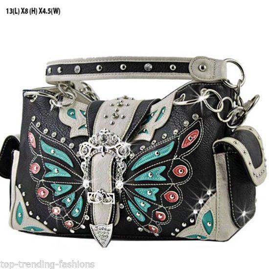 Butterfly_Black Western Rhinestone Studded Buckle Handbags Cowgirl Bling Purses #Unbranded #ShoulderBag