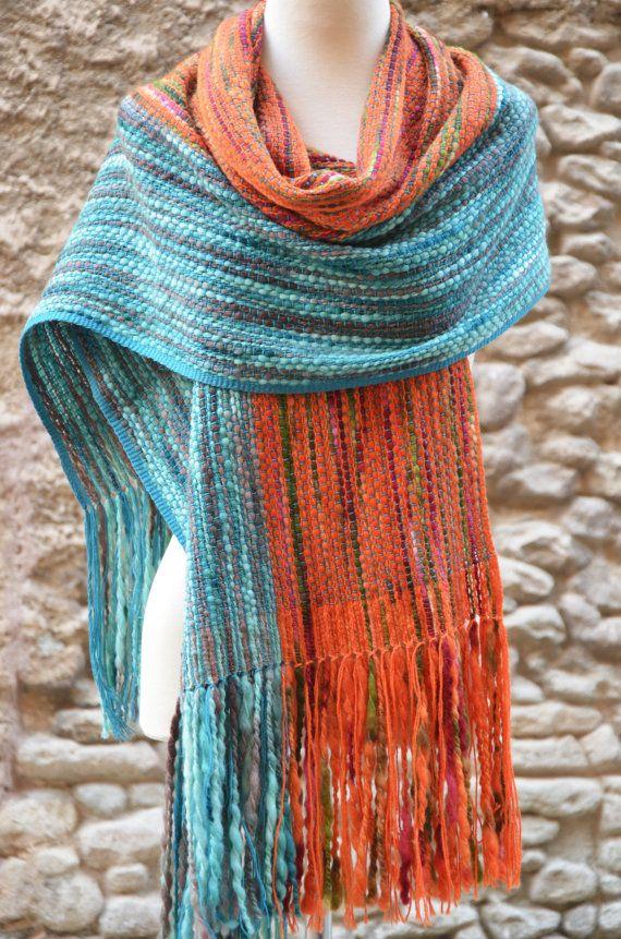 Flor Kanela Hand weven loom, hand geverfd Merino wollen sjaal, omslagdoek