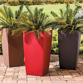 """Improvements - Self-Watering Square Tall Tapered Planter- Modern Smooth Surface 30"""" - Our Self-Watering Modern Planters offer both exceptional style and growing ease. Spend less time watering! These contemporary outdoor planters have a built-in sub-irrigation system that allows plants to draw up water as needed, for several days or even weeks. The integrated water level indicator will tell you when it's time to refill the reservoir. Made of sturdy polyethylene, the Self-Watering Modern ..."""