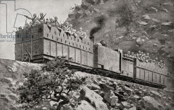 An armoured train in reconnaissance action near Kimberley, South Africa during the second Boer War, from 'South Africa and the Transvaal War', by Louis Creswicke, published 1900 (litho).