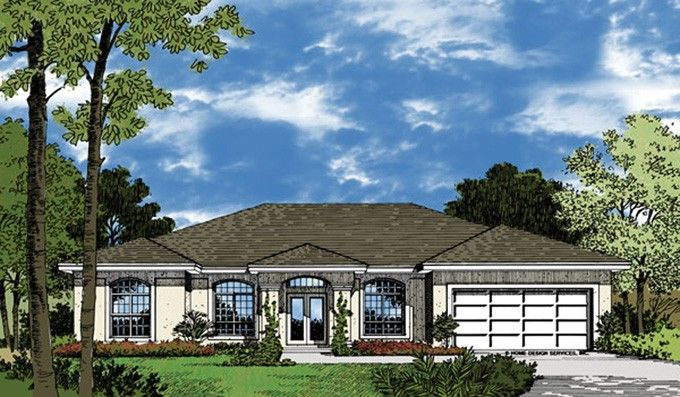 Mediterranean House Plan with 1758 Square Feet and 3 Bedrooms from Dream Home Source | House Plan Code DHSW18351