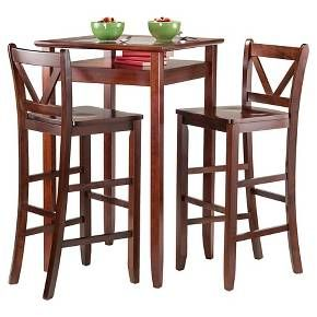3 piece halo set pub table with vback bar stools woodwalnut winsome brown