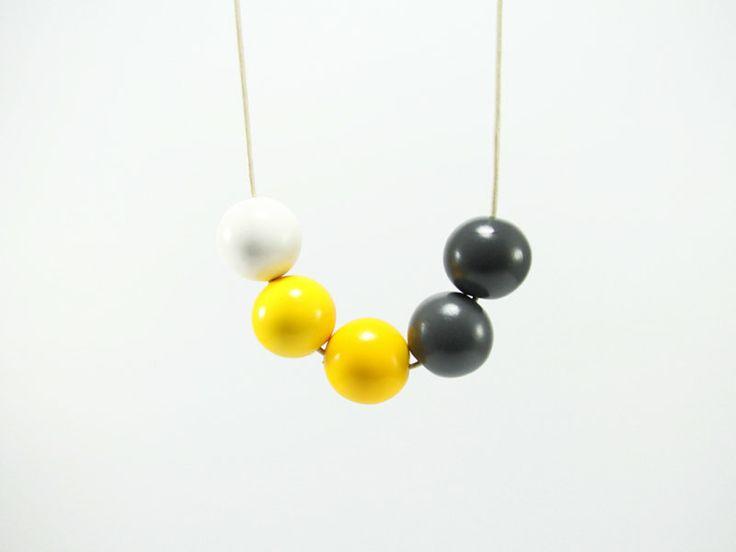 Yellow Grey White Round Beads Necklace  Geometric by biesge, $29.90