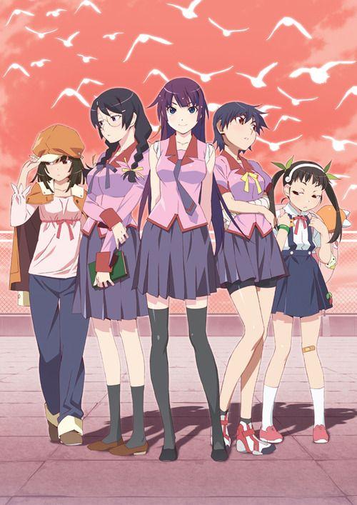 Bakemonogatari Tsubasa, Mayoi, and Nadeko