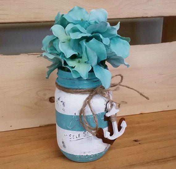 Nautical Themed Mason Jar with Teal Hydrangeas - Rusty Anchor - Twine- Chalk Painted Jar