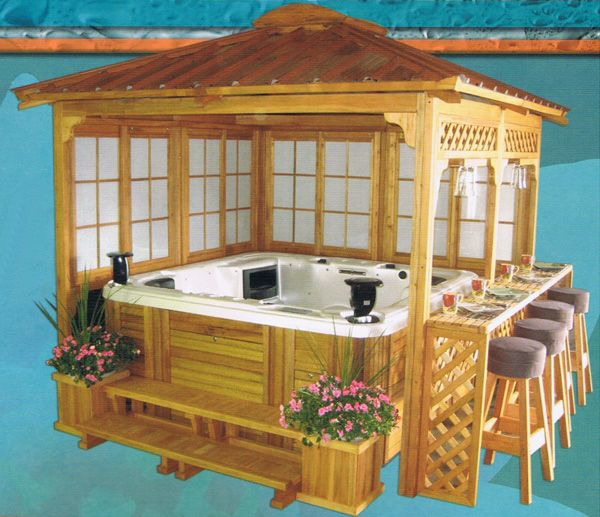 Coffee Shop Furniture Hot Tub: 8ft X 8ft Garden House Mahogany Gazebo With Jacuzzi...need