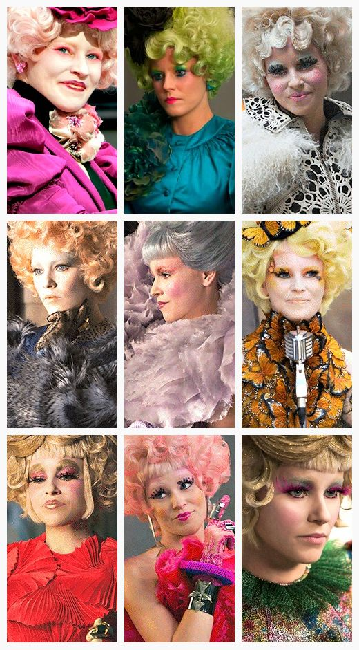 Effie Trinket Outfit Changes (throughout The Hunger Games and Catching Fire)