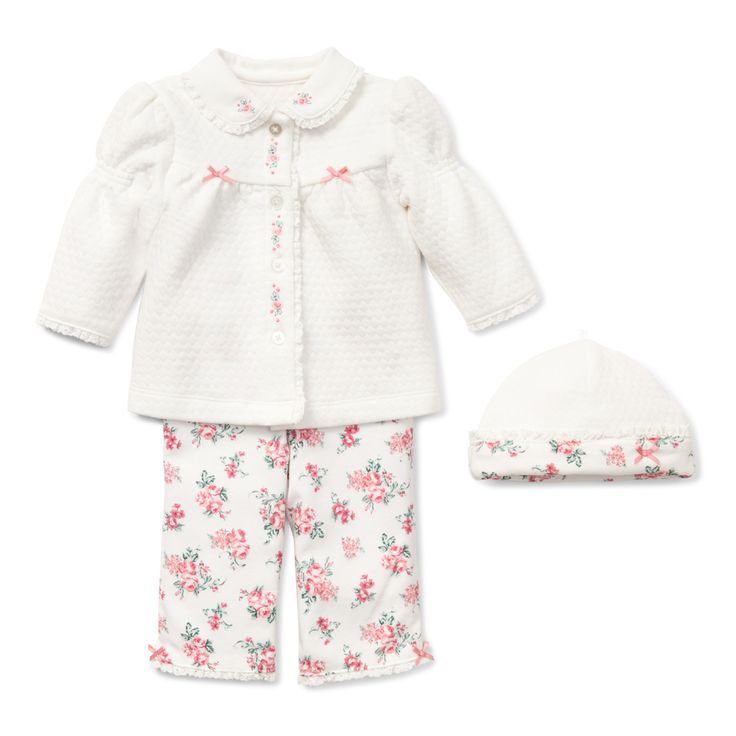 Baby Girl 4 Piece Outfit - Chateau Rose 4 Piece Take Me Home Outfit, includes matching bodysuit.