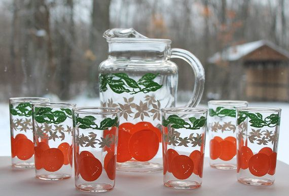 Vintage Anchor Hocking Juice Glasses & Pitcher by DukeCreekStudios
