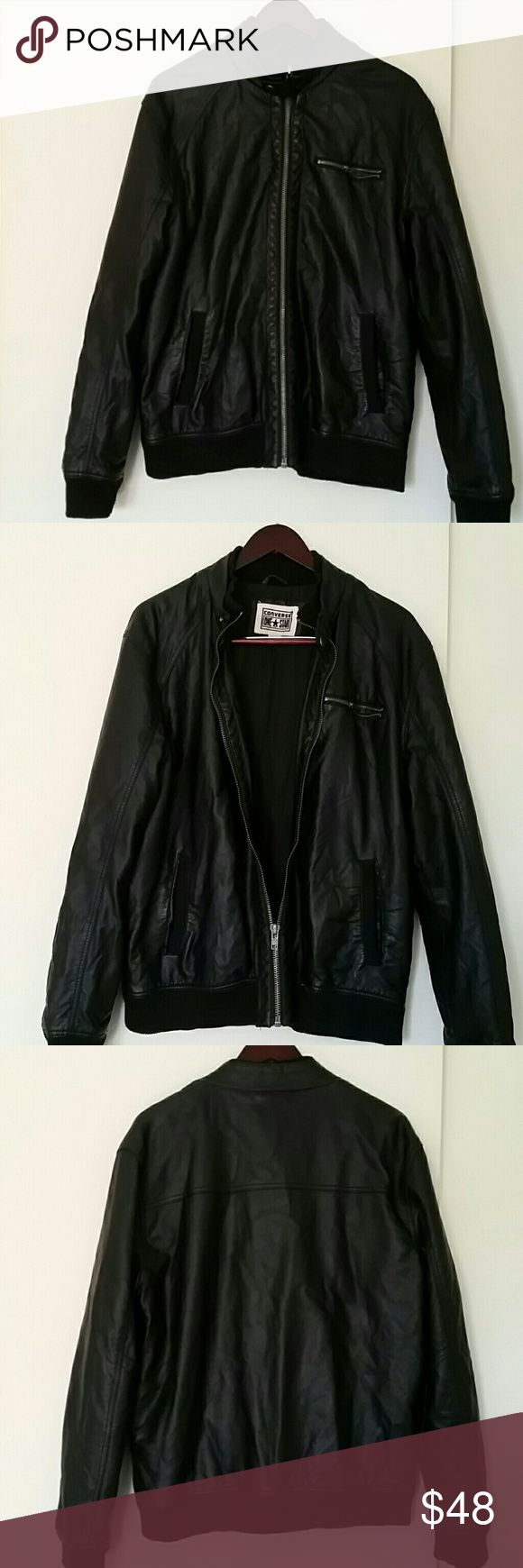 Men's Converse One Star Moto Jacket Men's Converse One Star Moto Jacket  Color: Black Size: Large (true to size) Material: 65% Polyester 35% Cotton  Faux Leather  Still in GREAT USED CONDITION No stains, holes or discoloration Converse Jackets & Coats