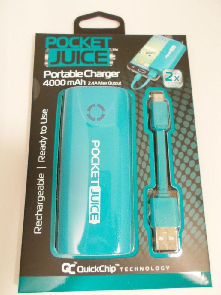 Tzumi Pocket Juice 4000 mAh Portable Charger USB Power Bank Cellular TEAL Color