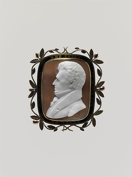 Shell cameo of Andrew Jackson by George W Jamison in a gold setting ca.1835