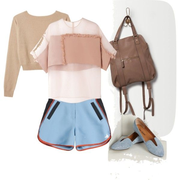 """""""Taupe + baby blue"""" by stylismatic on Polyvore  #anthroFave"""