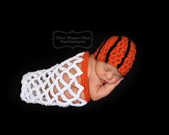 Crochet Basketball Beanie & Net - Newborn Photography Prop