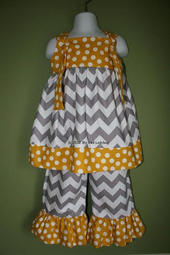 Grey and Yellow Chevron Outfit with Ruffle Pants by myredladybug, $48.50