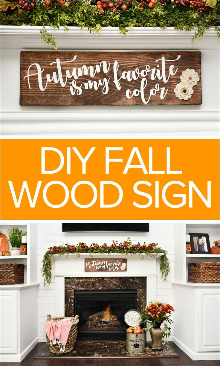 DIY Fall wood sign. Love this easy tutorial using a Cricut to make an adorable Fall wood stenciled sign. Includes free artwork download!